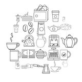 Coffee house icons set, outline style. Coffee house icons set. Outline set of 25 coffee house vector icons for web isolated on white background vector illustration