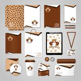 Coffee House Identity. Cafe identity with coffee ornament stationery set isolated vector illustration stock illustration