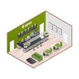 Coffee House Isometric Interior Royalty Free Stock Images