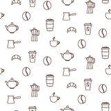 Coffee house line icons seamless vector pattern. Royalty Free Stock Photography