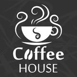 Coffee house logo design with cup silhouette on abstract background Stock Photography