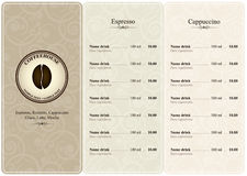 Coffee house menu. Menu for restaurant, cafe, bar, coffeehouse Royalty Free Stock Images