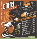 Coffee house menu creative template Stock Images