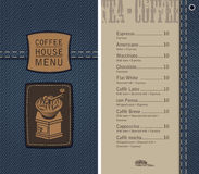 Coffee house menu on denim background with price Royalty Free Stock Photography
