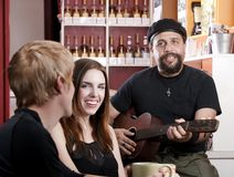 Coffee House Musician Royalty Free Stock Images