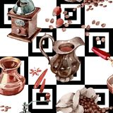 Coffee house pattern in a watercolor style. Coffee house aromatic food pattern in a watercolor style. Full name of the food: coffee. Aquarelle food for Stock Images