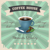 Coffee house poster design with cup of coffee in retro style. Royalty Free Stock Images