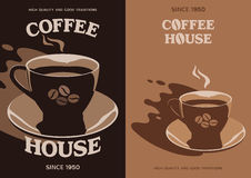 Coffee House poster design with cup and saucer Royalty Free Stock Image