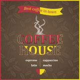 Coffee house poster design with steam and coffee beans pattern. Stock Photos