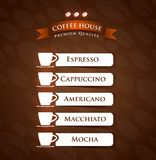 Coffee House Premium Quality menu Stock Images