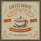 Coffee house retro background. Premium quality. Fresh brewed. Vector illustration stock illustration