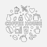 Coffee house round illustration. Vector cafe concept symbol. Made with line coffee icons Stock Photography