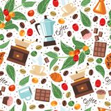 Coffee house seamless pattern white background vector illustration