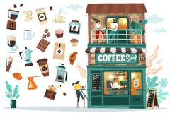 Coffee house setDetailed facade of the coffee house with visitors and Barista behind the bar. All objects are isolated they are ea royalty free illustration