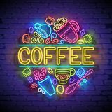 Coffee House Singboard Template with Cups, Swirl Hot Steam, Graines and Sugar. Cafe Label, Restaurant. Shiny Neon Light Style. Advertisement Flyer. Vector 3d Royalty Free Stock Photos