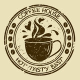 Coffee house stamp with cup Royalty Free Stock Photos