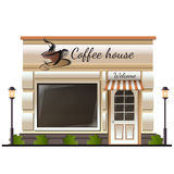 Coffee house store colored. Icon at white background stock illustration