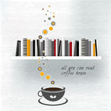 Coffee house template with book shelf. Royalty Free Stock Photography