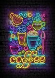 Coffee House Vintage Poster Template with Cups, Swirl Hot Steam, Graines and Sugar. Cafe Label, Restaurant Royalty Free Stock Photos