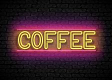 Coffee House Vintage Singboard. Cafe Label, Restaurant. Shiny Neon Light Style Lettering. Advertisement Flyer, Poster, Banner Template. Vector 3d Illustration Royalty Free Stock Photos