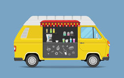 Coffee house on wheels. Isolated yellow van with drinks and food. Colorful vector illustration. Coffee house on wheels. Isolated yellow van with drinks and food Stock Photo