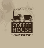 Coffee houses with a vintage steam locomotive Stock Image