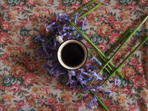 Coffee and hyacinth royalty free stock photography