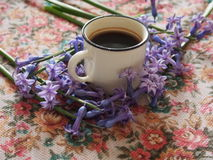 Coffee and hyacinth Stock Photography