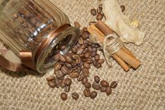 Coffee - I love coffee- Coffee beans in a jar Stock Photos