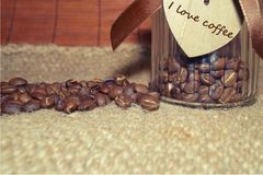 Coffee - I love coffee- Coffee beans in a jar Royalty Free Stock Photos