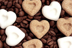 Coffee, I love you! Coffee beans and sugar hearts Royalty Free Stock Images