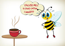 "Is That Coffee I Smell. Funny cartoon bee with cup of coffee. ""Is that coffee I smell royalty free illustration"