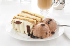 Coffee ice cream and Tiramisu Stock Image