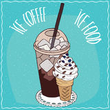 Coffee with ice and waffle cone with ice cream Royalty Free Stock Photography