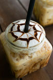 Coffee, iced coffee mocha on table wood in cafe Royalty Free Stock Images