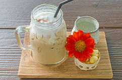 Coffee iced served with biscuit Stock Image