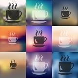 Coffee icon on blurred background Royalty Free Stock Photography