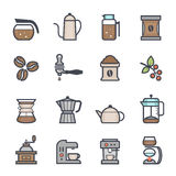 Coffee Icon Bold Stroke with Color Stock Photos