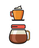 Coffee Icon - Filter Coffee icon - Flat coffee icons. Vector illustration of the Coffee Icon - Filter Coffee icon - Flat coffee icons Royalty Free Stock Photo