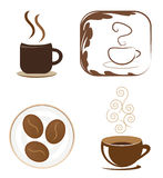 Coffee icon set. A variety of coffee design elements, icons or logos against white Stock Photos