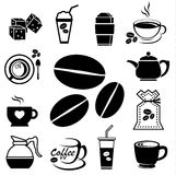Coffee icon set 01. Coffee icon set with accessory and ingredient of bean, jar, cup, jug, glass, sugar, bag, mug of break foods for relaxation,works and fresh Royalty Free Stock Photo