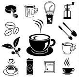 Coffee icon set 03. Coffee icon set with accessory and ingredient of cup, glass, bean, sugar, bag, mug, grinder, package, spoon, cake, can for break foods Royalty Free Stock Image
