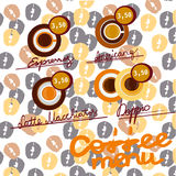 Coffee icon set menu for cafe, bar, shop. Illustration with coffee bean background Royalty Free Stock Images