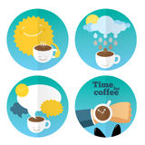 Coffee icon set template. With coffee cups and lettering. Modern stylish  flat illustration Royalty Free Stock Photography