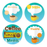 Coffee icon set template. With coffee cups and lettering. Modern stylish  flat illustration Stock Photography