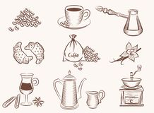 Coffee icon. Coffee vector black icon on white background Royalty Free Stock Photography
