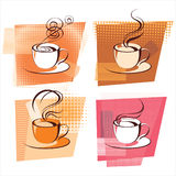 Coffee icons. Over abstract dotted background stock illustration
