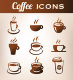 Coffee Icons. Nine coffee icons for web or print Royalty Free Stock Photos
