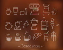 Coffee icons with brown Stock Photo