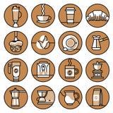 Coffee icons brown line set Stock Photo